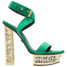 Preowned Versace #greek Green Platform Sandals ($1,950) ❤ liked on Polyvore featuring shoes, sandals, green, high heels, high heeled footwear, high heel platform sandals, sexy sandals, platform shoes and metallic sandals