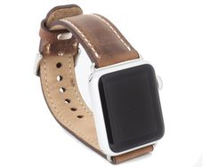 Distressed Brown, genuine leather Apple Watch Band 42 mm is designed as replacement strap for Apple iWatch band; Handmade two layered genuine