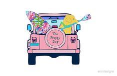 Preppy Pink Jeep Golden Retriever SUP Board