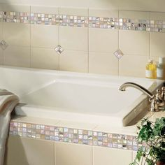 Daltile Details: Photo features Almond 6 x 8 field tile with City Lights in Hollywood x mosaic on wall and tub surround. Glass Mosaic Tiles, Wall Tiles, Bathtub Tile Surround, Best Floor Tiles, Reno, Tile Design, City Lights, House Design, Flooring