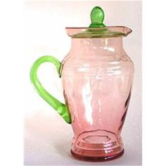 Pink and Green Elegant Depression Glass Pitcher -by Dunbar?