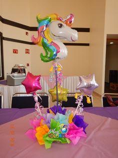 Centro de mesa unicornio arco iris