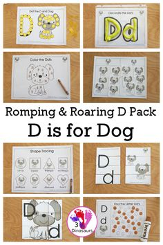 Free Romping & Roaring D Pack Letter Pack: D is for Dog - a letter D pack that has prewriting, finding letters, tracing letters, coloring pages, shapes, puzzles, and more to help kids learn their letter of the alphabet - 3Dinosaurs.com #freeprintable #3dinosaurs #lettersforkids #rompingroaring #disfordog #letterd #letterpacks Letter Activities, Hands On Activities, D Is For Dog, Letters For Kids, Tracing Letters, Cool Coloring Pages, Pre Writing, Help Kids, 31 Days
