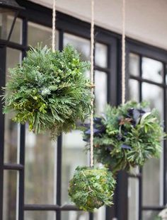 Certainly these are easy. An easy way to liven up an entrance to Christmas (and winter). The ball is made of the year Green Leaves – boxwood, pine, spruce, ivy and olive branches and eucalypt…