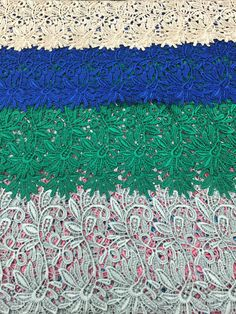 Guipure Lace Fabric By The Yard 48/50 in multiple colors and is non-stretch.  Measurements:  fabric width - 48/50  Colors available:  - Blue - Green - Ivory - White - Silver - Teal - Red - Pink - Purple - Turquoise - Navy - Black  Like what you see but prefer a different length or quantity?  Send me a message and Ill create a special listing just for you!  For a wider selection of lace fabric visit my shop:  mikeysfabric.etsy.com