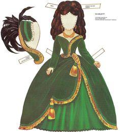 Paper Dolls~Scarlett - Bonnie Jones - Álbuns da web do Picasa Paper Cutting, Paper Toys, Paper Crafts, Origami, Paper Dolls Printable, Scarlett O'hara, Gone With The Wind, Vintage Paper Dolls, Little Doll