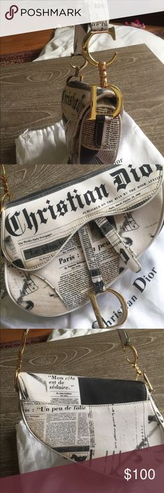 Christian Dior Purse Vintage newsprint Authentic Vintage newsprint Authentic Christian Dior Saddle bag not sure how to clean it Dior Bags Shoulder Bags