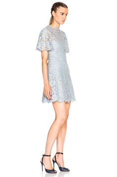 Image 3 of Valentino Flutter Sleeve A Line Lace Dress in Blue