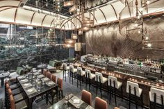 Interior designer Joyce Wang discusses the custom-made fittings and furniture she designed for Ammo bar and restaurant in Hong Kong. Design Bar Restaurant, Luxury Restaurant, Asia Restaurant, Restaurant Facade, Restaurant Lighting, Restaurant Interiors, Restaurant Ideas, Shop Interiors, Design Café