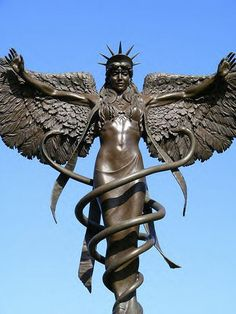 Serpent symbol Is.....Great Mother Angel Caduceus Statue Symbol of New Earth.