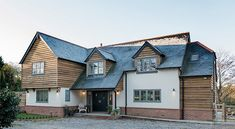 David & Lesley | Flat Pack Mansion | Case Study | Self Build | Potton House Cladding, Timber Cladding, Exterior Cladding, Home Building Design, Building A House, House Extension Design, House Design, Rendered Houses, Self Build Houses