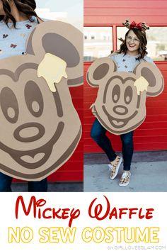 No Sew Mickey Waffle Costume: Disney Treats Costume - Girl Loves Glam Easy Disney Costumes, Pet Costumes, Halloween Costumes For Kids, Cool Costumes, Creative Costumes, Costume Ideas, Disney Halloween, Holidays Halloween, Halloween Diy