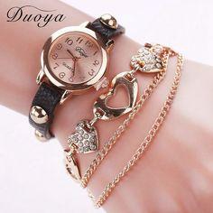 Women Gold Heart Luxury Leather Wristwatches Women Dress Bracelet Chain Watch