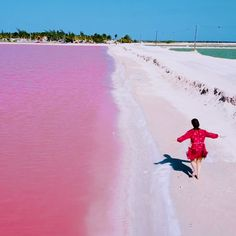 These bright pink lagoons in Mexico are an explosion of color.