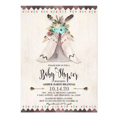 Boys Boho Tribal Teepee Baby Shower Invitations