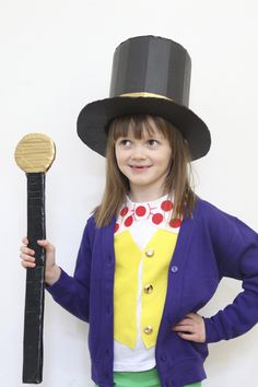 This Willy Wonka costume is the golden ticket of makes because it is completely no-sew! Dig out a large cardboard box in preparation for making this costume. To complete the look, team these makes with green trousers and a plain purple cardigan.