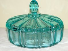 Vintage Teal Blue Candy Dish