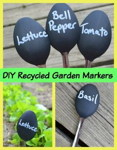 Only 3 cheap items to make these DIY Recycled Garden Markers! Such an EASY & weatherproof idea to craft in just minutes to organize your veggies!