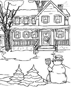 Winter Coloring Pages | 1001 COLORINGPAGES : Season >> Winter >> Coloring Page Snow