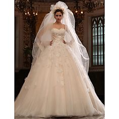 A-line Sweetheart Cathedral Train Tulle Satin Wedding Dress With Veil