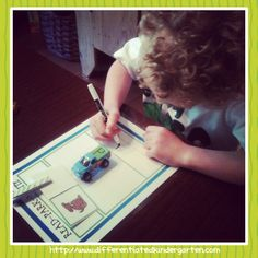 Using cars to practice letter sounds from A Differentiated Kindergarten