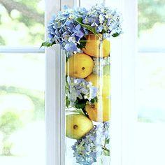 CraftyandCookingMomma: Hydrangea and Lemons Centerpiece!