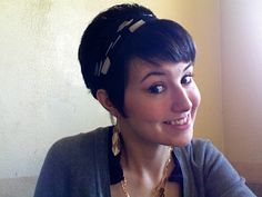 cute hairstyles scarves | Adorable short hair with cute scarf