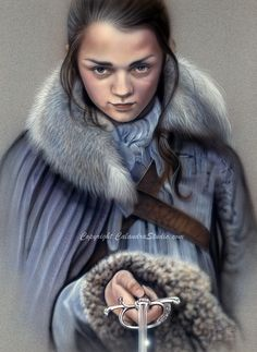 Hand Painted Airbrush and colored pencil on paper of Arya Stark // game of thrones