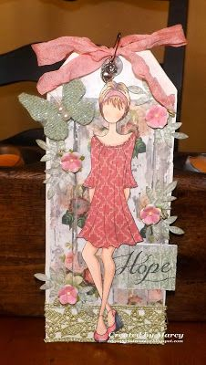 Loves Rubberstamps Challenge Blog: Challenge 72 - ANYTHING GOES!! Created by Design Team Member Marcy Dangcil using Prima Doll Stamps & Tag Book