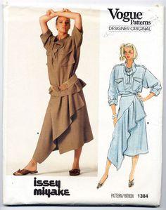 1980s ISSEY MIYAKE Vogue Designer Original 1384 Size 14 vintage unused pattern #VoguePatterns #Misses