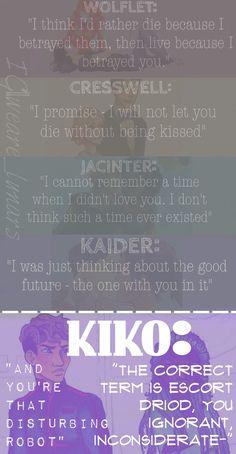 Iko and Kinney | Kiko | Wolflet, Cresswell, Jacinter, Kaider, || The Lunar Chronicles (source:Instagram:@weare_lunars)
