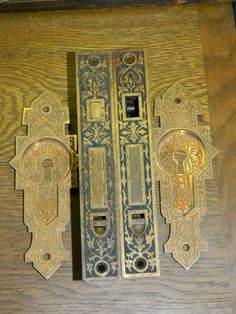 Iron Eggudart Door Hardware Sets C Complete Pocket Set For Double Doors  Yale Complete Antique Pocket