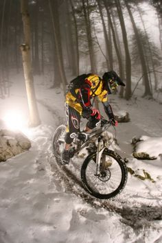 Mountain bike on snow. http://www.sma-summers.com/camp-activites/land-adventure-activities/mountain-biking/ Please follow us @ http://www.pinterest.com/wocycling/
