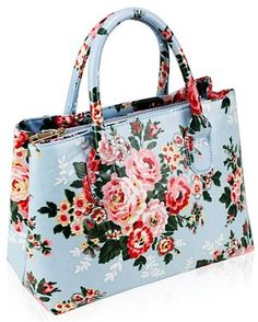 'Cath Kidston' Inspired Tote Bag - Gorgeous oilcloth (wipeable) small tote bag in pretty shabby chic floral style.