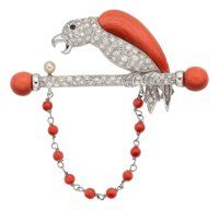 Diamond, Coral, Ruby, Cultured Pearl, White Gold Brooch