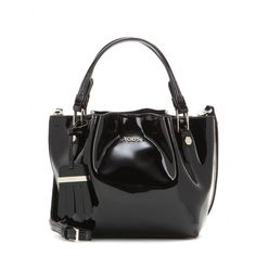 We love this patent leather update to Tod's 'Flower Micro' bag. The 'Micro' size is perfect for fitting all your essentials without being bulky. The shiny black leather adds a touch of sophistication to your office and evening wardrobe.