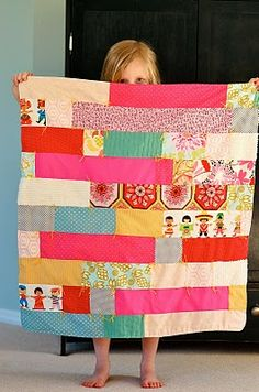 Simple quilt.  Great way to use scraps of favorite fabrics.