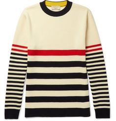 MAISON KITSUNÉ Striped Knitted Wool Sweater. #maisonkitsuné #cloth #knitwear