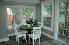 Ben Moore Cape May Cobblestone - dining room - white trim and accents
