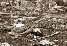 "Gettysburg, Pennsylvania Dead Confederate soldiers in ""the devil's den"""