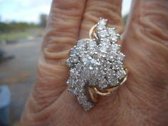 Amazing 14k Yellow Gold Diamond Cluster Cocktail Dinner Fashion Ring 3 10 Tcw   eBay