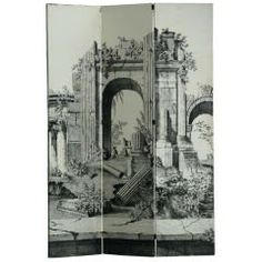 Large 1940s Italian Lithographed Wallpaper Screen