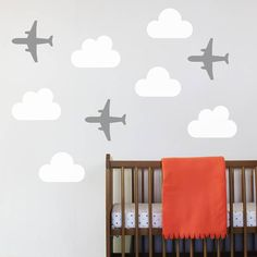 I've just found Set Of Three Aeroplane Wall Stickers. A graphic Aeroplane Wall Sticker set for little pilots in training. Toddler Boy Room Decor, Boys Room Decor, Baby Boy Rooms, Sage Green Bedroom, Bedroom Orange, Wall Stickers, Wall Decals, Kids Room Paint, White Rooms
