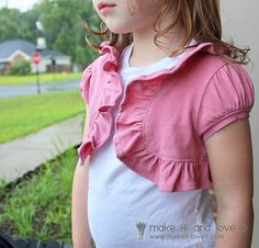 Super Cute idea!  Make a shrug out of an old shirt.