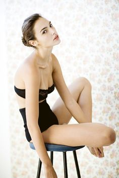 Gal Gadot wearing a bra and high-waisted briefs from La Perla's Lotus Pearl Collection