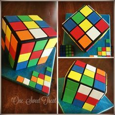 A Rubix Cube cake made for my SIL's twin boys to celebrate their birthday.  #rubixcube  #OneSweetTreat