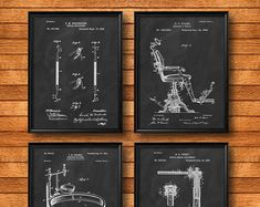 SET of 4 Dental Art Posters - Patent Illustration, Art Print or Canvas - Wall Art Decor, Medical, Orthodontist, Dentist Gift - Dental Jokes, Dental Art, Dental Hygiene, Dental Office Decor, Dental Office Design, Dental Offices, Dental Posters, Canvas Wall Decor, Canvas Art