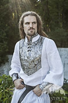 Wedding Medieval Mens Tunic with Brocade Accents von armstreet