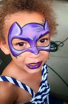 Glitter Nail Tips Info: 6195352922 Batgirl Face Paint, Superhero Face Painting, Face Painting For Boys, Toddler Makeup, Kids Makeup, Mask Face Paint, Face Paint Makeup, Face Painting Images, Face Painting Designs