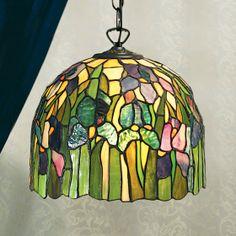 Iris Pendant  Iris Pendant, a design redolent of traditional Tiffany styles. H:450-1400 W:310 D:310 Bulbs:1 x 60 E27 Fittings:SU02 Shade:TV73